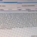 Carta Documento del Presidente del Estadio a la Presidenta de la Subcomisión de la mujer.